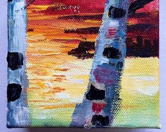 Birch Sunset 2 -original acrylic painting