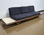 Vintage Mid Century Modern Very Low Adrian Pearsall Teak and Travertine Sofa and Tables