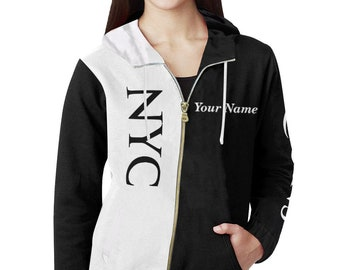 NYC Ladies Personalized All City Hoodie 3.0,(Black)Brooklyn,Queens,Manhattan,Bronx,Staten Island,NYC Gifts,New York,