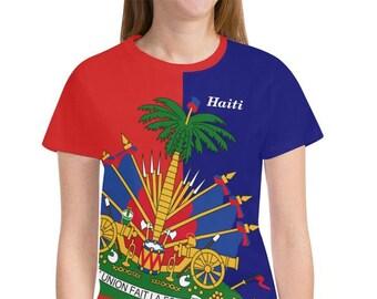 Haiti Ladies Flag Shirt/Haitian/Haitian Shirt/Haitian Gifts/Haiti Items/Haiti T Shirt/Haiti Love/Haiti Pride/Women's/Ladies/carnival