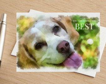 "Dog Watercolour Beagle Greetings Card ""You are Simply The Best'"