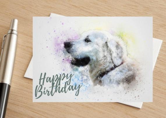 Dog Golden Retriever Happy Birthday Greetings Card Etsy