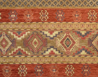 Red Ethnic FabricBrown Kilim FabricChenille FabricRed Carpet FabricKilim Fabrichome Decor FabricUpholstery FabricGeometric Fabric