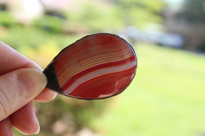 Large Bright Red Agate Teardrop Pendant