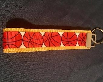 Basketball themed key fob/sports key fob/key chain wristlet/basketball/back to school/key fob/key chain/keychain/sports key ring/keychains