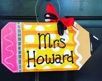 Pencil Door Hanger/Teacher gift/Door Hanger/wooden sign/teacher appreciation/pencil/back to school/teacher/school door hanger & Teacher door sign | Etsy