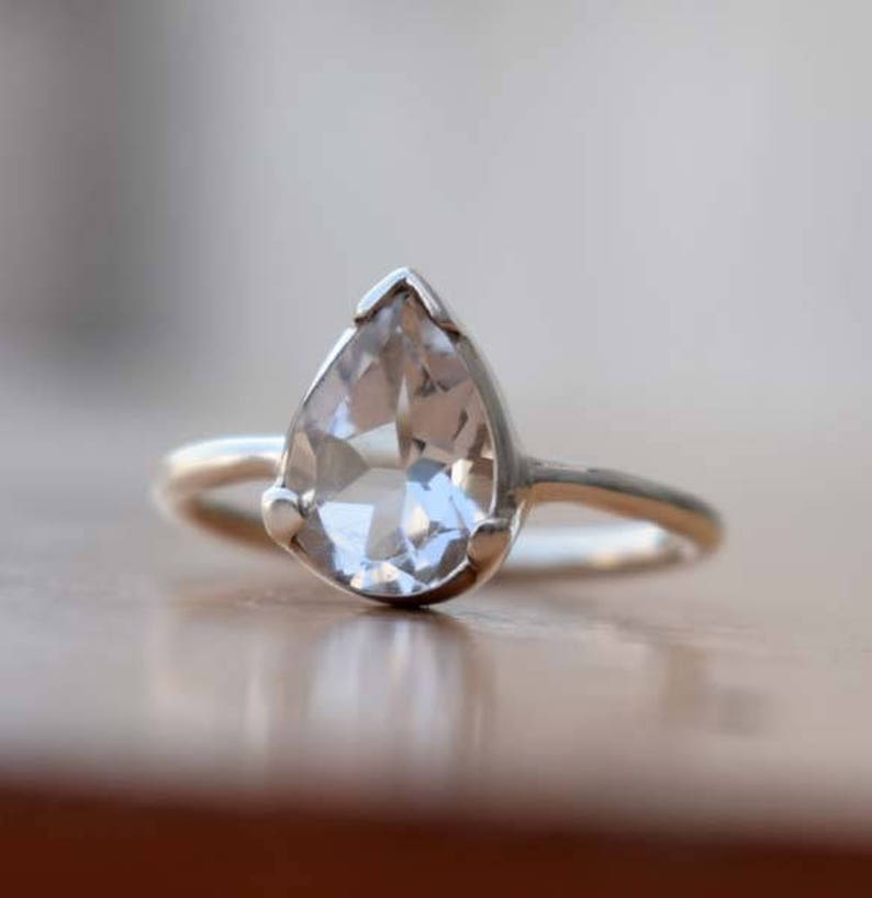 Natural Clear Crystal Ring-Solid 925 Sterling Silver Ring-Dainty Ring-Tiny Ring-Crystal Pear Shape Silver Ring-Hand Made Ring-Christmas Gift