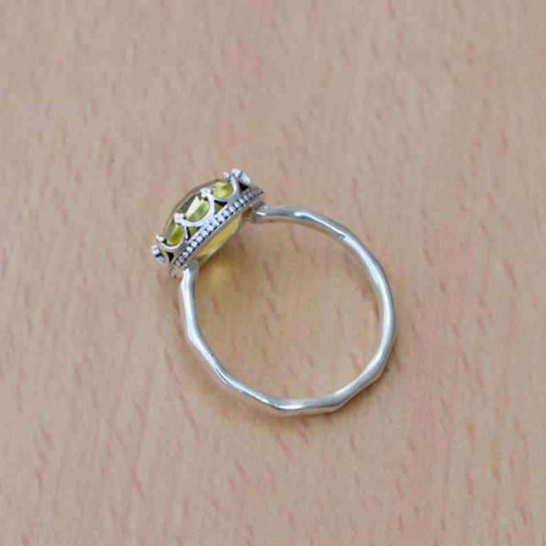 Natural Lemon Quartz Ring-Round cut Lemon Ring-925 Sterling Silver Ring-Handmade Jewelry-Birthstone Ring-Dainty Ring,Grown Lemon Quartz Ring