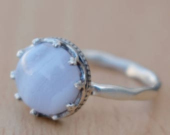 Blue Lace Agate Ring-Round Cab Agate Ring-92 Sterling Silver Blue Ring-Handmade Jewelry Ring Blue Lace Agate Gift-Dainty Christmas Gift Ring