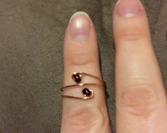 Adjustable Copper Swirl Beaded Rings