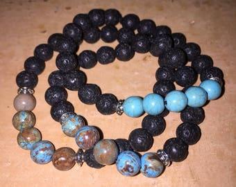 Lava and Gemstone Diffuser Bracelets