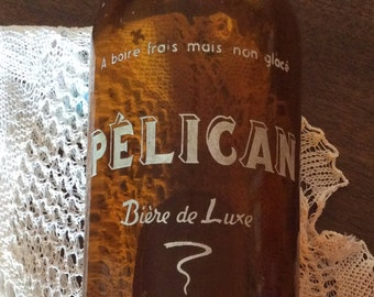 Reduced vintage french glass bottle