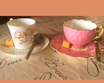 2 cups coffee with their saucer earthenware french vintage