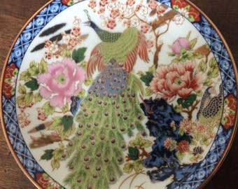 Plate decorative handmade with a Peacock stunning made in Japan vintage