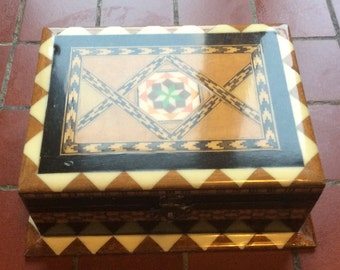 Nice old wooden lacquered jewelry box