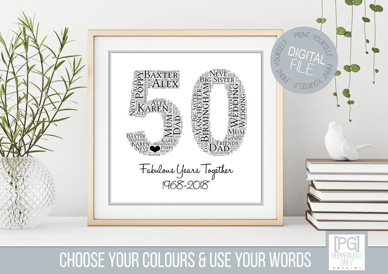 50th Anniversary Gift Golden Wedding Anniversary Personalised Wedding Anniversary Word Art Printable Gift Personalised Gift