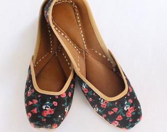 Women Shoes FlatsIndia Punjabi JuttiFlower Pastel Green