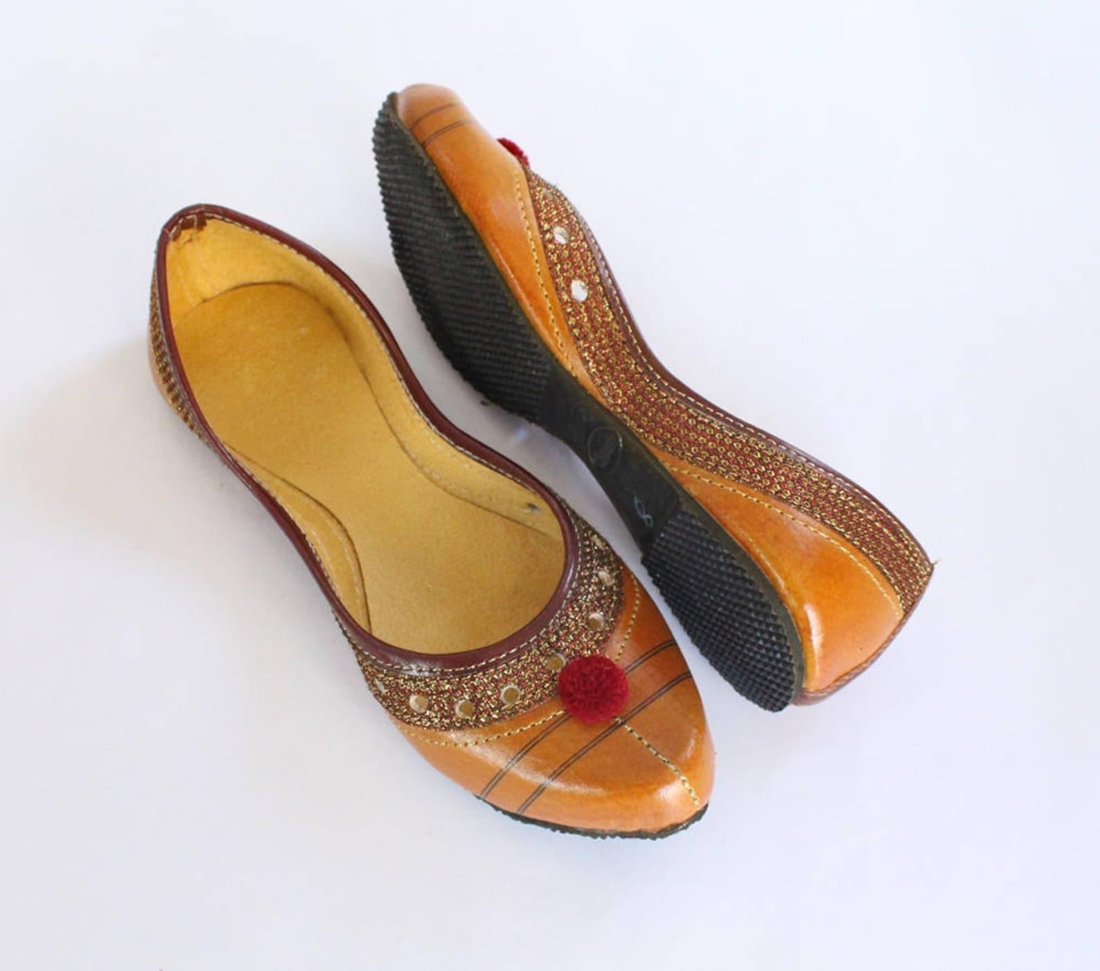 indian flat shoes/women shoes/punjabi jutti/orange shoes/ballet flats/muslim shoes/handmade khussa wedding women shoes us size 4