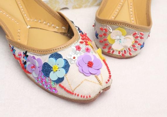 Women Shoes FlatsIndia Punjabi JuttiFlower Flat Sandal ShoesJasmine Indian Leather ShoesBallet FlatsKhussa ShoesUS Size 6,7,8.5,9