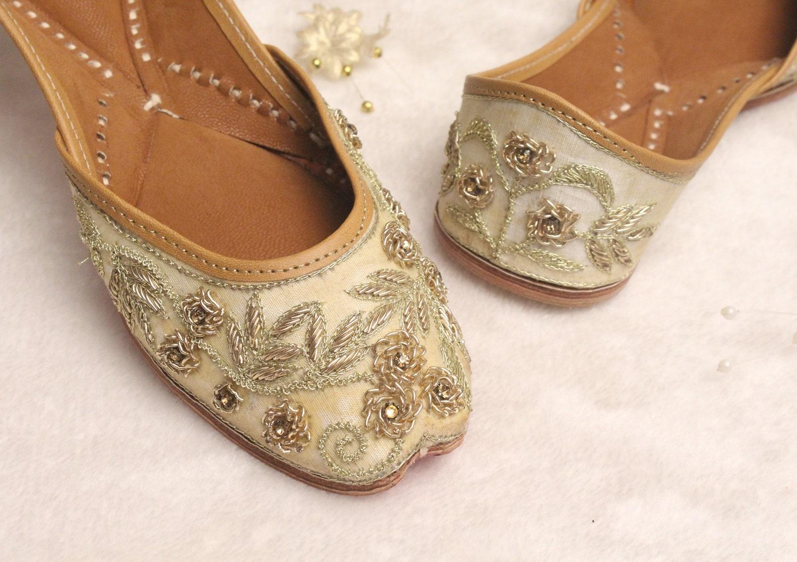 bridal flat shoes wedding/women lehnga gold jutti shoes/indian wedding flats/gold ballet flats/bollywood khussa punjabi shoes us
