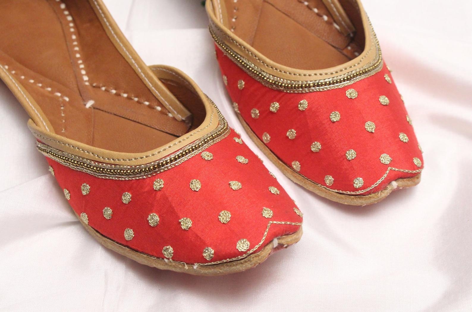 red gold shoes bridal wedding/women maroon red gold jutti shoes/indian wedding flats/ballet flats/khussa shoes/punjabi shoe us s