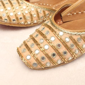 Indian Bridal Wedding ShoesWomen Lehnga Gold Jutti ShoesGold Wedding FlatsGold Ballet FlatsJasmine Khussa Punjabi Shoes US Size  4.557