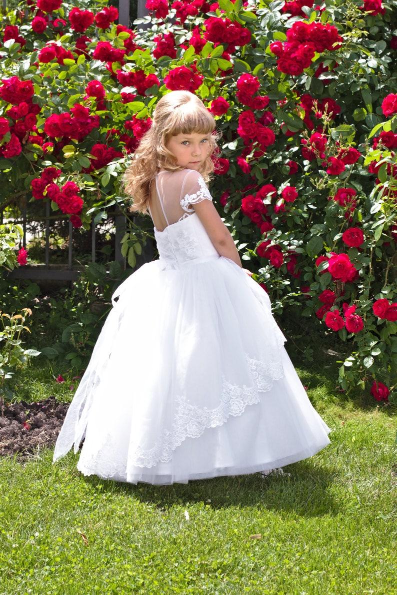 b9ac75d0dcae Fiore ragazza vestito di pizzo abito di tulle bianco