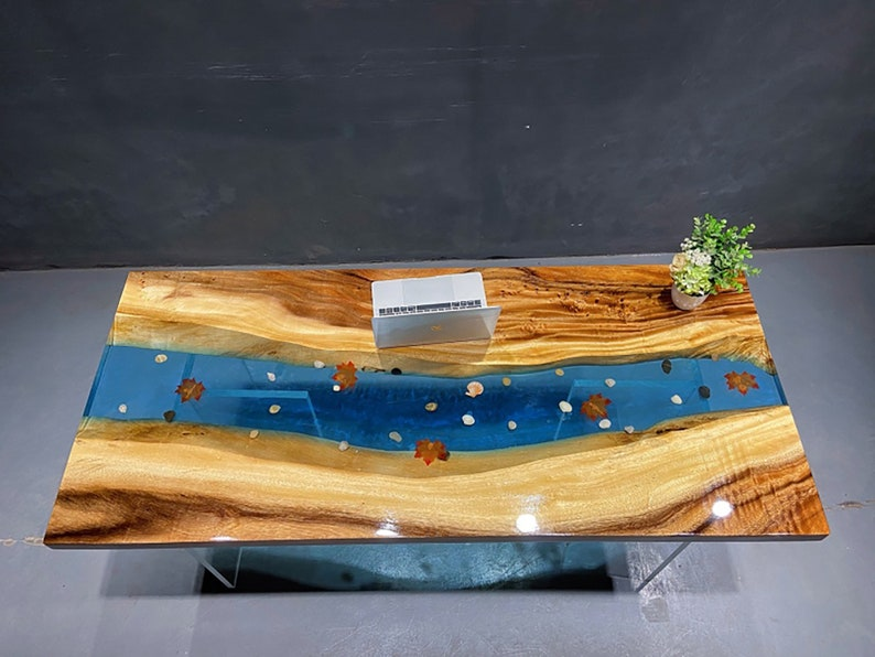 Blue River Table Top With Epoxy Inlay Senna Siamea