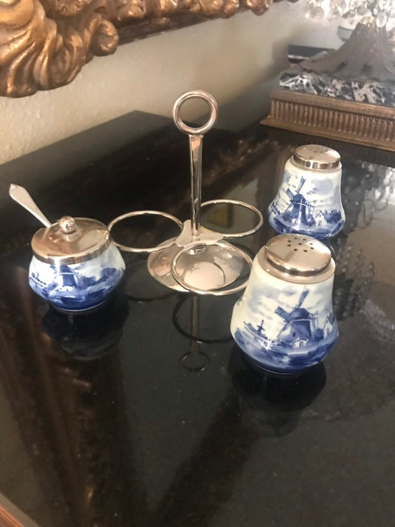 Salt pepper and mustard pot on stand Vintage Delfts Condiment Set with Stieff Pewter handpainted Holland.