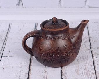 Handmade Clay Teapot Pottery Home Decor Unique Gift Kettle for Tea Tea Ceremony Tea Clay Handmade Teapot