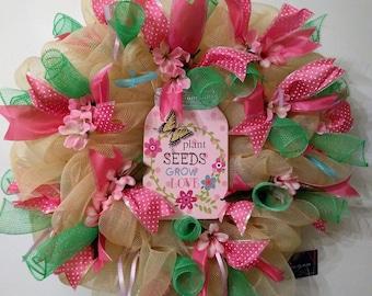 wreath, pinks greens sentimental