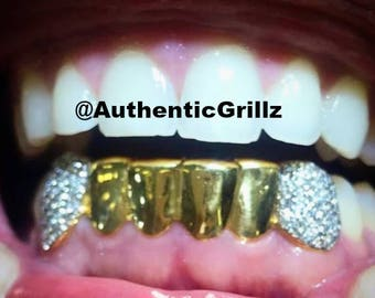 Authentic Custom 6 Teeth Grill with Hand Set High Quality VS Diamonds on  Fangs in Silver925 7e17d4af6b