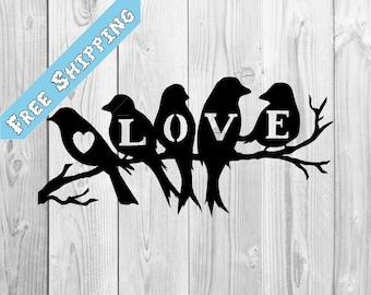 Love Birds on a Branch with a Heart Plasma Cut Metal Wall Table Valentine's Day Art
