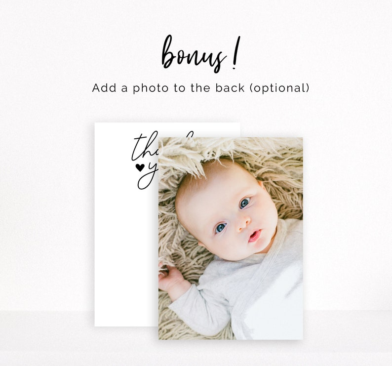 Gender Neutral Thank You Card Hey Baby Shower Thank You Sip and See Thank You Note Instant Digital Download Black and White