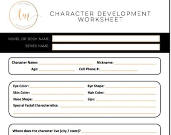 Character Development Worksheet - Printable PDF - For Writers