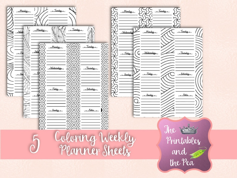 picture relating to Weekly Planning Sheets identified as Coloring Weekly Planner Sheets