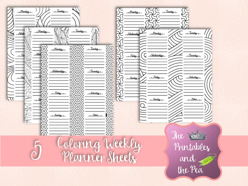 photo about Weekly Planning Sheets known as Coloring Weekly Planner Sheets