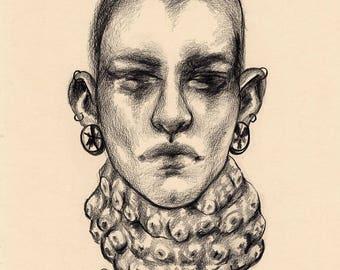 ORIGINAL - Squidboy - Traditional A3 Drawing