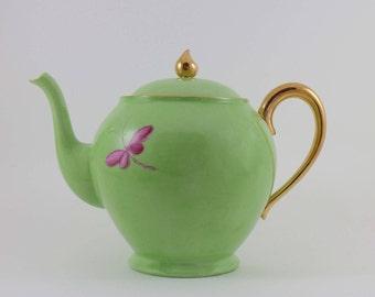 Green Limoges porcelain teapot