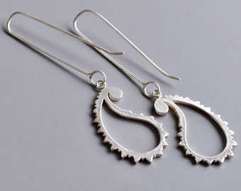Silver Paisley Motif Long Drop Earrings
