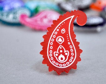 Laser Cut Acrylic Paisley Pattern Brooch Pin Badge - Chilli Red, Scottish Gift