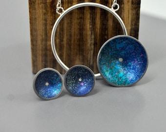 Colourful aluminium & silver pendant/earring set