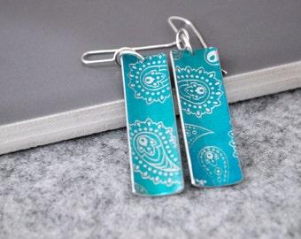 Colourful Drop Earrings, Aluminium / Sterling Silver, everyday earrings