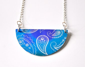 Colourful Aluminium Semi-Circle Pendant Necklace