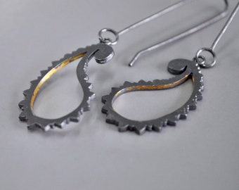 Oxidised Silver Drop Earrings