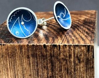 Aluminium/Silver Dome Stud Earrings