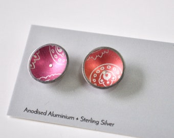 Colourful Dome Stud Earrings, Aluminium / Sterling Silver, everyday earrings, pink earrings