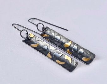 Silver+Gold Paisley Print Drop Earrings