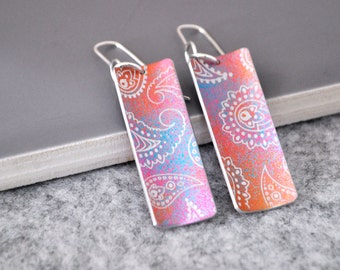 Colourful Drop Earrings, Aluminium / Sterling Silver, everyday earrings