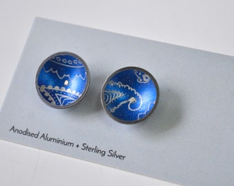 Colourful Dome Stud Earrings, Aluminium / Sterling Silver, everyday earrings, blue earrings